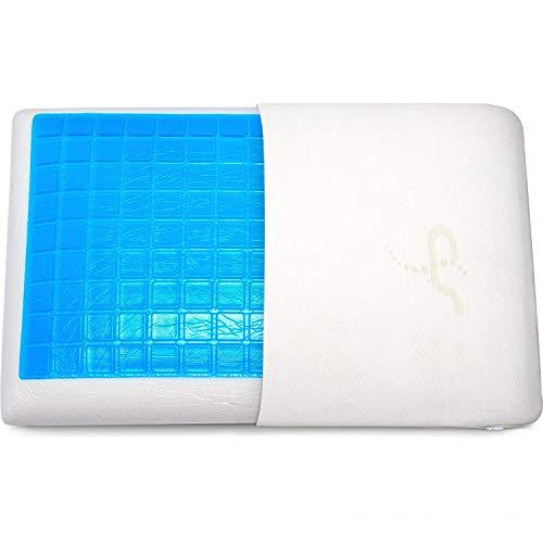 Supportiback® Almohada terapéutica de cama con gel disipador de calor.Reversible funda extraíble hipoalérgena lavable diseñado médicamente para la prevención y el alivio del dolor de cuello y espalda