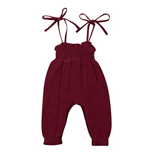DressLksnf Neugeborenes Overall Kleinkind Ärmellos Sling Jumpsuit Baby Einfarbig Strampler Sommer Kinderkleidung