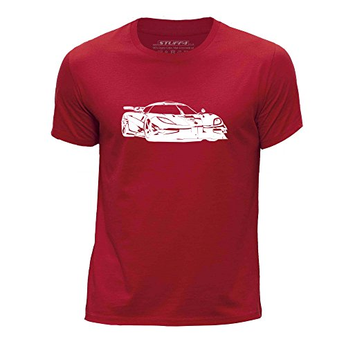 stuff4-chicos-edad-de-12-14-152-164cm-rojo-cuello-redondo-de-la-camiseta-plantilla-coche-arte-one-1