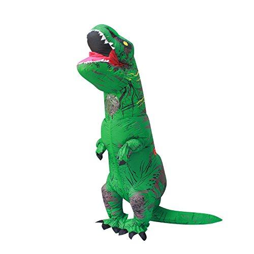 PARAYOYO Halloween Erwachsene aufblasbare T Rex Dinosaurier-Partei-Kostüm Lustige Kleid Grün und (Grüne Kostüm Kleid)