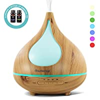 300ml Wood Pattern Air Humidifier,Essential Oil Aroma Diffuser and Humidifier with Timing 7 Color LED Nightlight for Baby,Home,Bathroom