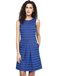 Marie Lucent Blue A Line Dress for Women in Knit Fabric with Sleeveless