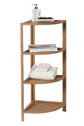 Creative Bad Eco Styles 4-shelf Ecke Tower, natur/Bambus (Schmutzige Wäsche Behindern)