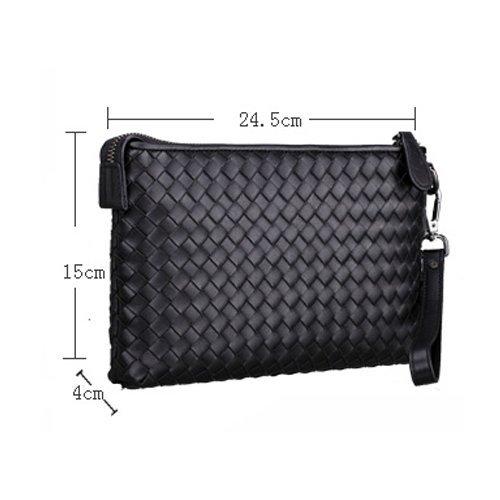 H&W Clutch Leder Unterarmtasche Handgelenktasche Geldbörse Portemonnaie für Herren Schwarz #13