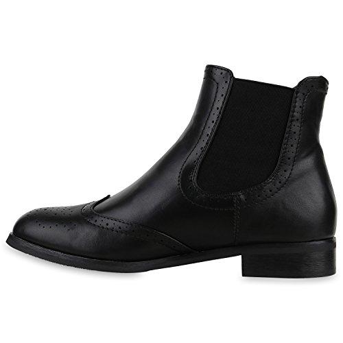 3ff5b7f5c9f5 Stiefelparadies Damen Chelsea Boots Klassische Stiefeletten Glitzer Leder-Optik  Schuhe Profilsohle Booties Knöchelhohe Stiefel Übergrößen