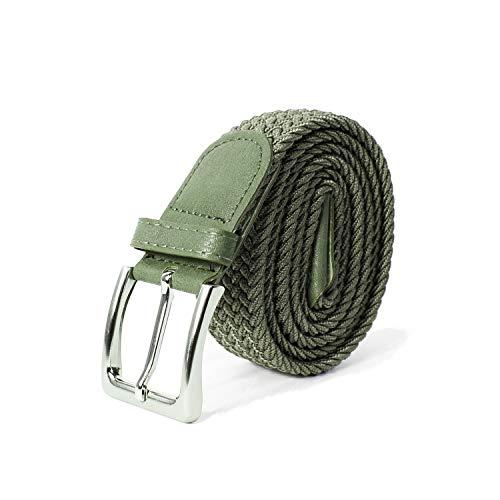 Glamexx24 Unisex Elastischer Stoffgürtel Geflochtener Stretchgürtel Dehnbarer Gürtel für Damen und Herren, Grün, 110cm -