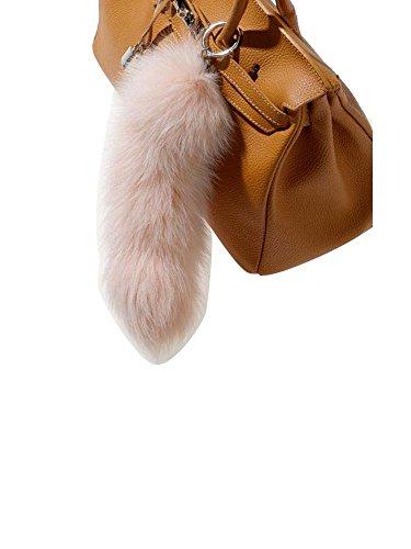 Modassori Damen Mode Schlüssel-Taschen-Anhänger Fuchsschwanz Echtfell Rosa Kollektion