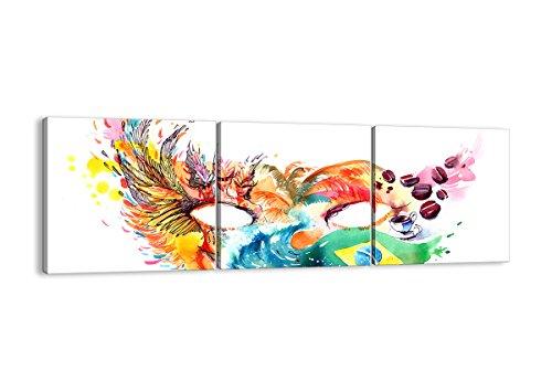 Bild auf Leinwand - Leinwandbilder - DREI Teile - Breite: 150cm, Höhe: 50cm - Bildnummer 3036 - dreiteilig - mehrteilig - zum Aufhängen bereit - Bilder - Kunstdruck - - Rio Karneval Kostüm Bilder