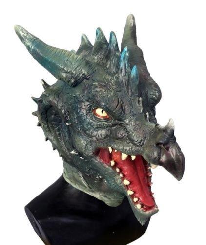 The Rubber Plantation TM 619219293297 - Máscara de dragón de látex verde, diseño de cabeza completa, disfraz de Fantasía, para cosplay de Coopers Fancy Dress, adulto unisex, talla única