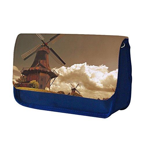 Paesaggi 157, Mulino a Vento, Blu Scuola Bambini Sublimazione di alta qualità Polyester Astuccio Matita Caso con Design Colorato. 21x13 cm.
