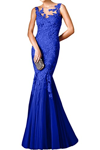 Charmant Damen Traumhaft Spitze Meerjungfrau Lang Abendkleider Partykleider Abiballkleider Bodenlang Royal Blau