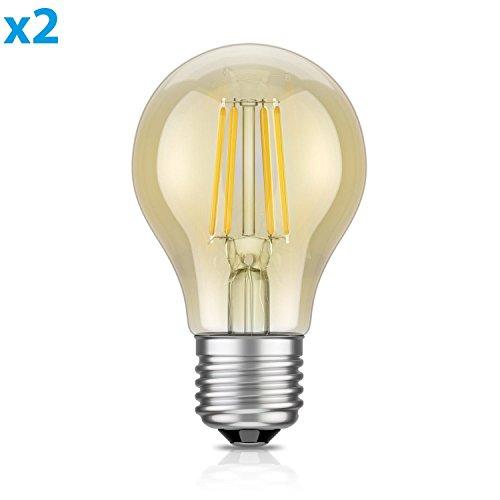 ledscom.de E27 LED Leuchtmittel Glühfaden Vintage amber A60 4W =40W extra-warm-weiß 400lm A++ auch wetterfest, 2 Stk. (40 W Glühbirne)