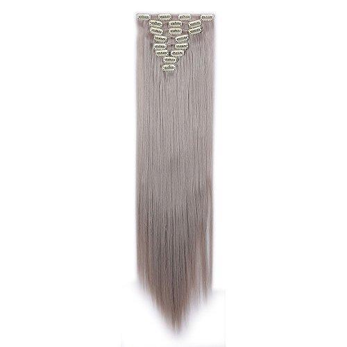 Clip in Extensions wie Echthaar HellGraun Haarteile Clips Haarverlängerung 8 Tresssen günstig Haar Extensions Glatt 26