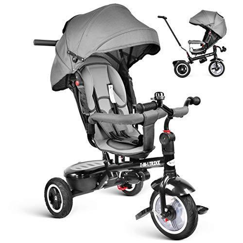 besrey Dreirad 7-in-1 Kinderdreirad Kinder Dreirad Kinder Fahrrad mit 360 Grad Drehsitz und Liegefunktion ab 6 Monate bis 6 Jahre mit Regenschutz - grau