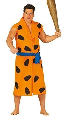Höhlenmensch Outfit (Herren Große Höhlenmensch Fred Feuerstein Höhlenmensch Prähistorisch 1960s TV Film Kostüm Kleid Outfit Größe L - Orange,)