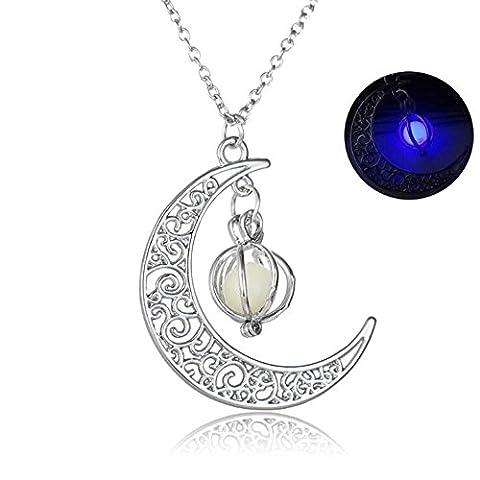 DUUMY 4-Farbig Leuchtende Perlen KüRbis Mond AnhäNger Licht Emittierende Leucht Stein Halskette Halloween Weihnachtsgeschenke FüR MäNner Und Frauen , Purple