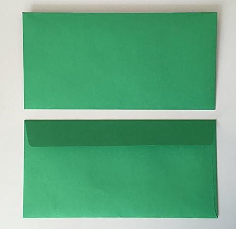 25 Enveloppes, vert, vert comme paysanne, 220 x 110 mm, avec patte auto-adhésive