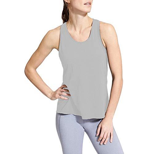 Femme Débardeur T-Shirt Gym sans Manches Top de Sport Gilet Lâche Veste Tank Elastic pour Running Yoga Fitness