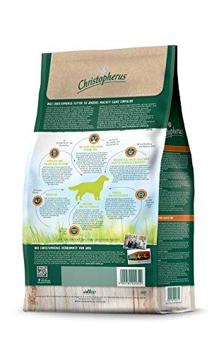 Christopherus Adult, Vollnahrung für ausgewachsene Hunde mit normaler bis gesteigerter Aktivität, Trockenfutter, Geflügel, Lamm, Ei, Reis, Krokettengröße ca. 1 cm, Erwachsener Hund, 12,0 kg - 4