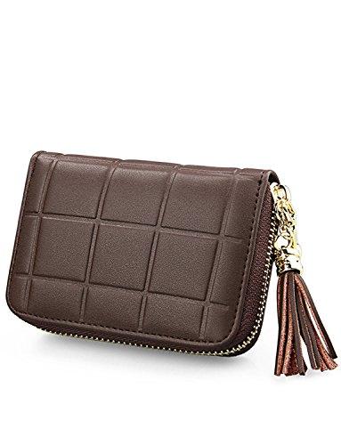 DYSS la carta di credito di portafoglio rfid cuoio breve borsa le donne viaggiare con cerniera (Rosso) Brown