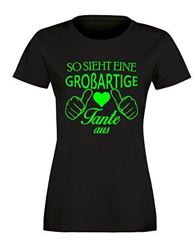 So sieht eine großartige Tante aus - Damen Rundhals T-Shirt Schwarz/Neongruen