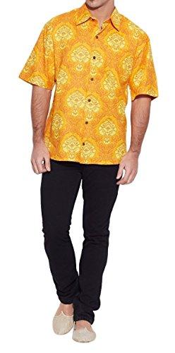 ShalinIndia hommes de plage en coton imprimé Shirt manches demi avant Pocket Multi_17