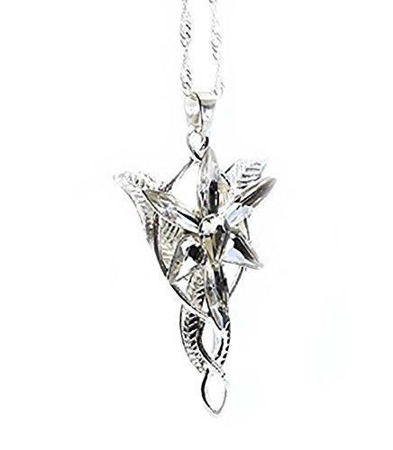 «El Señor de los Anillos», «El Hobbit» - Réplica del colgante de cristal y plata de Arwen o Estrella de la tarde.