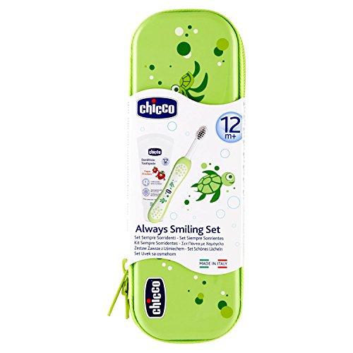 Chicco Oral Set inklusive Zahnbürste und Zahnpaste Erdbeere mit Flourid, grün