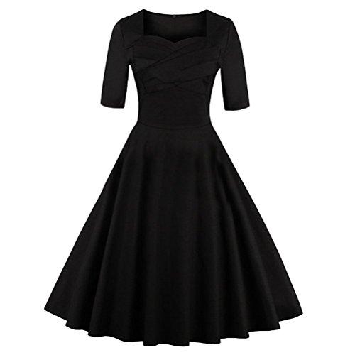 Ghope Robe patineuse babydoll à motif fleurs robe classique vintage style des années 50 Hepburn soirée festival Noir