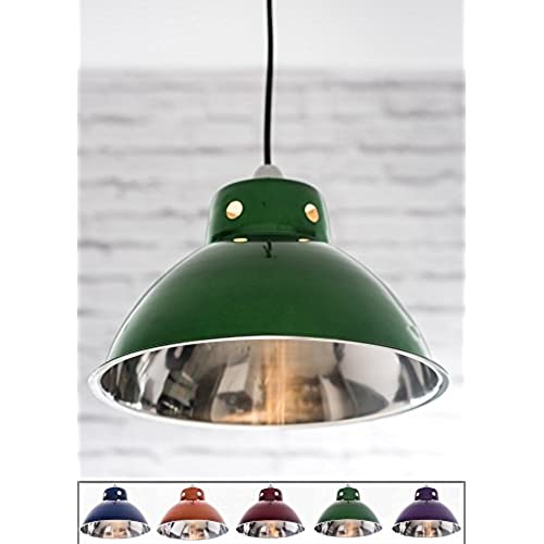 Kitchen lamp shades amazon funky cafe style retro ceiling light pendant metal shade modern industrial vintage look 300mm diameter metallic green polished inside mozeypictures Choice Image
