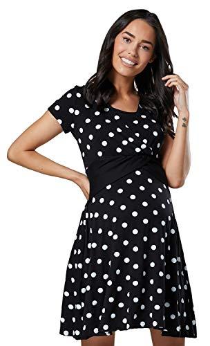 Happy mama donna vestito prémaman per l'allattamento abito con maniche corte 605 (nero con puntini, it 48, 2xl)