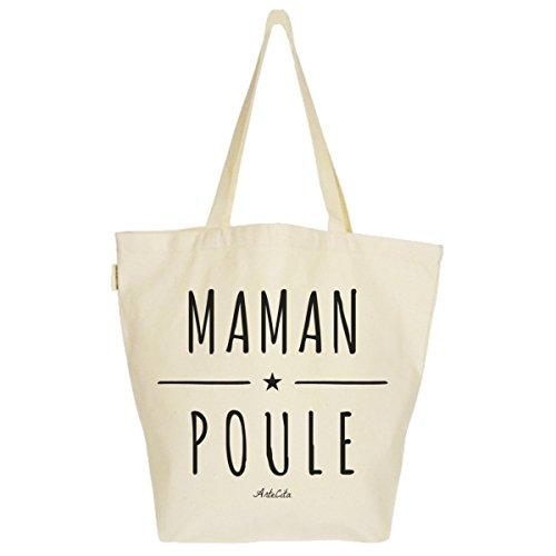 Grand Sac Cabas Fourre-tout Imprimé Toile Bio 37x45x20cm Tote Bag XL - Maman Poule