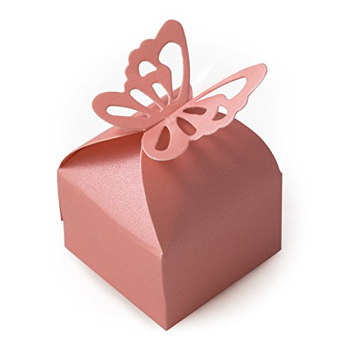 TRIXES 50 Cajas para Recuerdos de Boda con Adorno de Mariposa (Decoración para Fiestas de Cumpleaños o Bodas)
