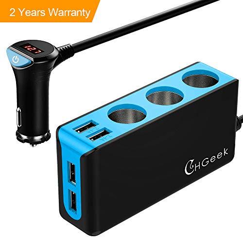 CHGeek Auto Ladegerät, 120W 12V/24V USB KFZ Ladegerät 6.8A 4 USB Ports Multi-Funktion Power Auto Adapter mit 3-Fach KFZ Zigarettenanzünder Verteiler Splitter für iPhone, Samsung, GPS und Mehr - Blau
