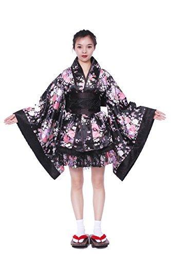 Japonais Style Kimono Peignoir Robe Anime Cosplay Costume YUKATA Série Japonais D'été Mignon Fille Anime Cosplay Costumes (Rouge & Blanc) (M)