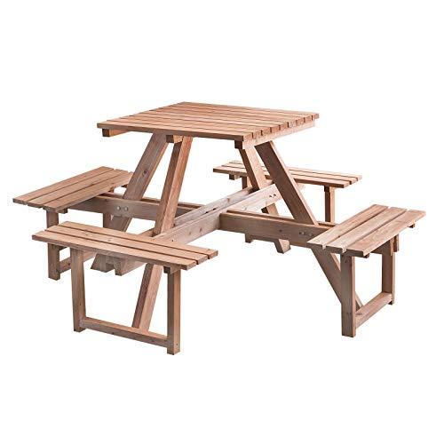 STI Set Picknick Tisch mit Bänken Holz imprägniert 170x 170x 78Hohe Qualität - Picknick-tisch