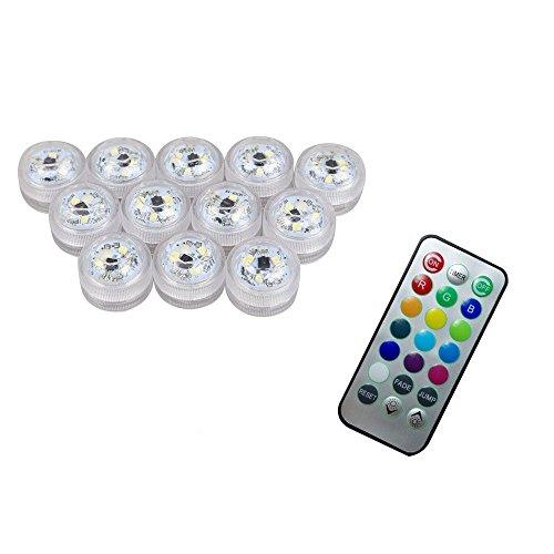 XINBAN 12x LED Farbwechsel Unterwasser Lichtshow Stimmungslicht Teelichter mit Fernbedienung für Teich und Badewanne oder als Vasenlampe (wasserdicht, batteriebetriebend)