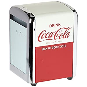 Tablecraft CC381 Coca-Cola Napkin Dispenser, Half, Red