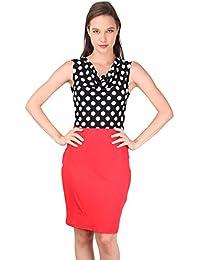 Turtle Neck Polka Dress- Red