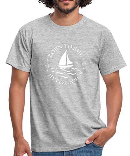 Spreadshirt Segeln Born to Sail Männer T-Shirt, 3XL, Grau meliert