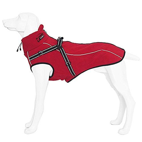 Hundemantel Ideale Schutz Winddicht Warm Outdoor Hundejacke Hundebekleidung Mantel für Mittele Große Hunde in rot schwarz