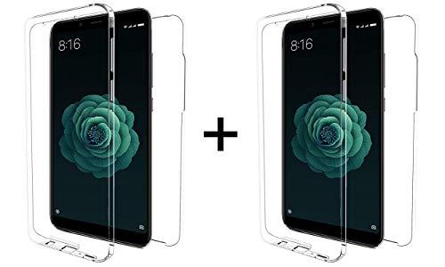 """TBOC 2X Funda para Xiaomi Redmi 6 - Redmi 6A [5.45""""] - [Pack: Dos Unidades] Carcasa [Transparente] Completa [Silicona TPU] Doble Cara [360 Grados] Protección Integral Total Delantera Trasera Lateral"""