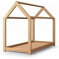 Preisvergleich für Vicco Kinderbett Jugenbett Kinderhaus Bett Kinder Holz Haus Schlafen Spielbett Hausbett - lackiertes Massivholz - kindgerechte Verarbeitung (Natur, 80 x 160 cm)