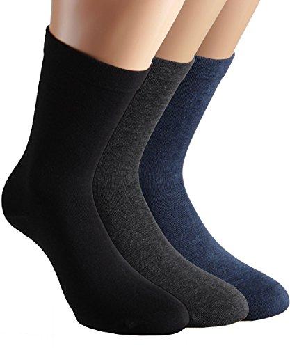 Vitasox 1112025 Damen Socken Gesundheitssocken extra weiter Schaft ohne Naht ohne Gummi 8 Paar Schwarz Anthrazit Jeans-Töne 39/42