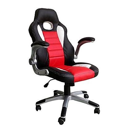 MCTECH Silla de Oficina Racing Gaming Sillón Lujo De Juego Apoyabrazos Silla Escritorio Altura Ajustable (Negro-Rojo, Tipo B)