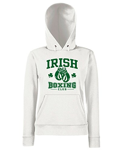 T-Shirtshock - Sweats a capuche Femme TBOXE0023 irish boxing club Blanc