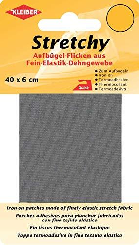 Kleiber + Co.GmbH Stretchy Aufbügel-Flicken, 100{fa522fb0b4e0bb75dc908aaf8dff66f6c077af1d82aacc677c1c202328468387} Polyester, grau, 40 x 6 x 0,05 cm