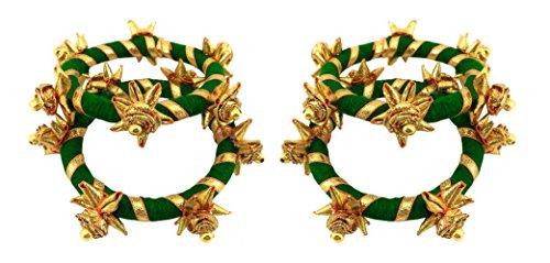 BLENT#63 Dark Green Gota Patti Flower Jewellery Bangle Set for Women/Kids/Girls/Bride/Bridal/Wedding/Haldi/Mehandi (Handmade...