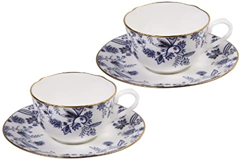 Noritake Sorrentino Cup and Saucer, Blue, Set of 2 by Noritake