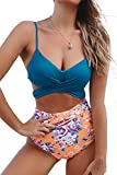CUPSHE Saphir Blau Floral Bikini, Mehrfarbig, S